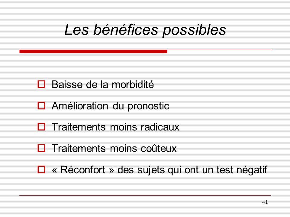 41 Les bénéfices possibles Baisse de la morbidité Amélioration du pronostic Traitements moins radicaux Traitements moins coûteux « Réconfort » des suj