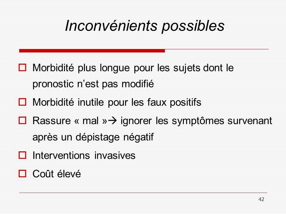42 Inconvénients possibles Morbidité plus longue pour les sujets dont le pronostic nest pas modifié Morbidité inutile pour les faux positifs Rassure «