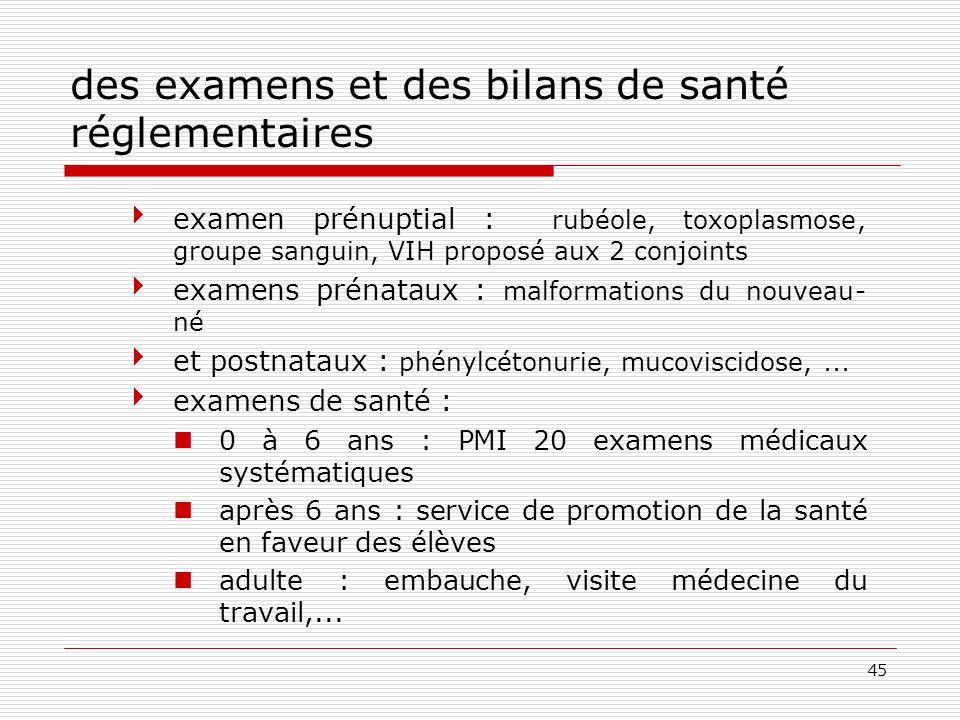 45 des examens et des bilans de santé réglementaires examen prénuptial : rubéole, toxoplasmose, groupe sanguin, VIH proposé aux 2 conjoints examens pr