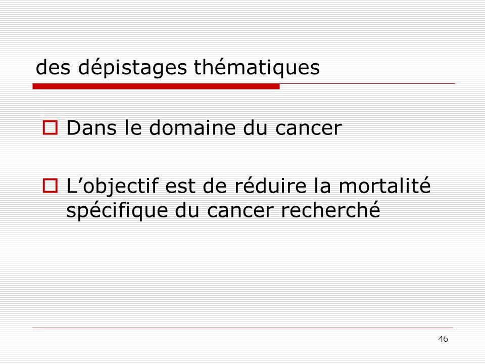 46 des dépistages thématiques Dans le domaine du cancer Lobjectif est de réduire la mortalité spécifique du cancer recherché