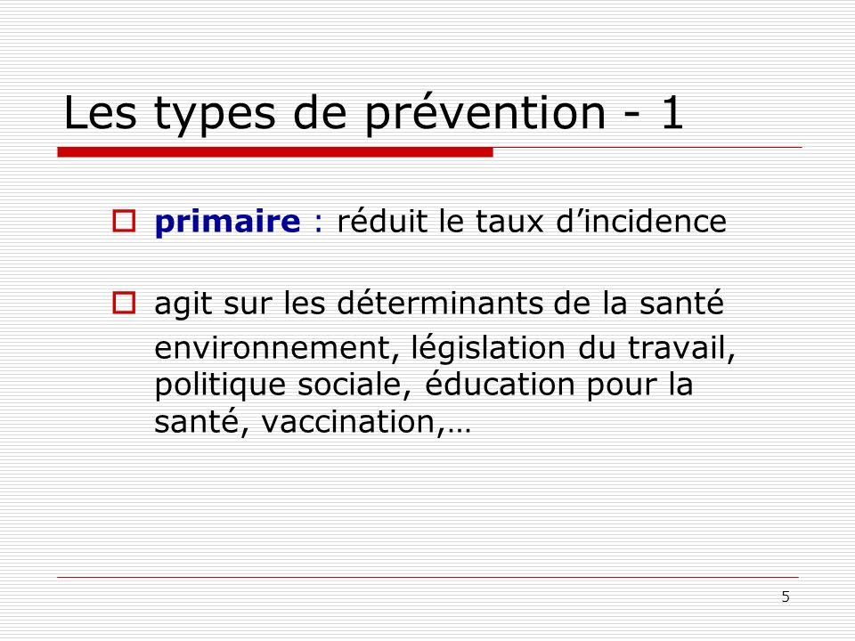 5 Les types de prévention - 1 primaire : réduit le taux dincidence agit sur les déterminants de la santé environnement, législation du travail, politi