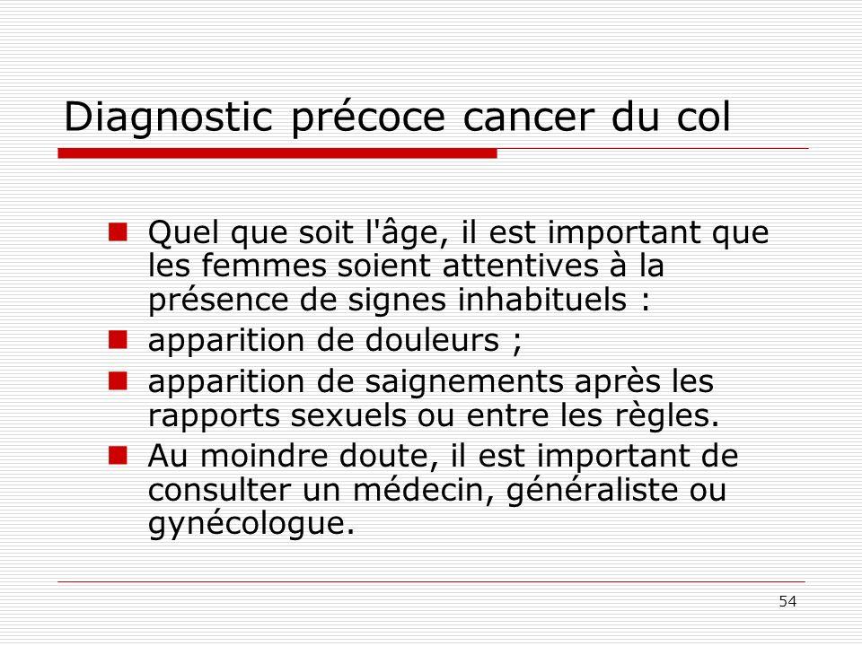 54 Diagnostic précoce cancer du col Quel que soit l'âge, il est important que les femmes soient attentives à la présence de signes inhabituels : appar