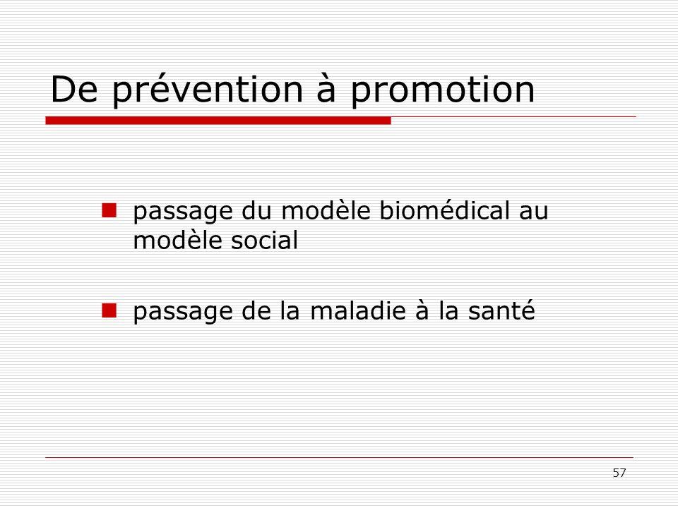 57 De prévention à promotion passage du modèle biomédical au modèle social passage de la maladie à la santé