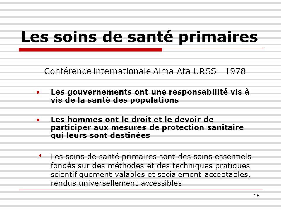58 Les soins de santé primaires Conférence internationale Alma Ata URSS 1978 Les gouvernements ont une responsabilité vis à vis de la santé des popula