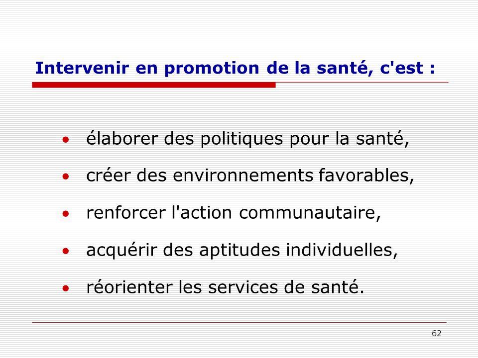 62 Intervenir en promotion de la santé, c'est : élaborer des politiques pour la santé, créer des environnements favorables, renforcer l'action communa