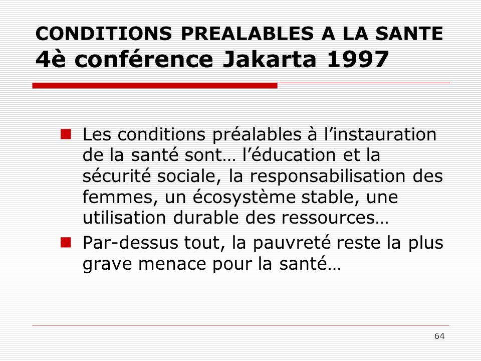 64 CONDITIONS PREALABLES A LA SANTE 4è conférence Jakarta 1997 Les conditions préalables à linstauration de la santé sont… léducation et la sécurité s