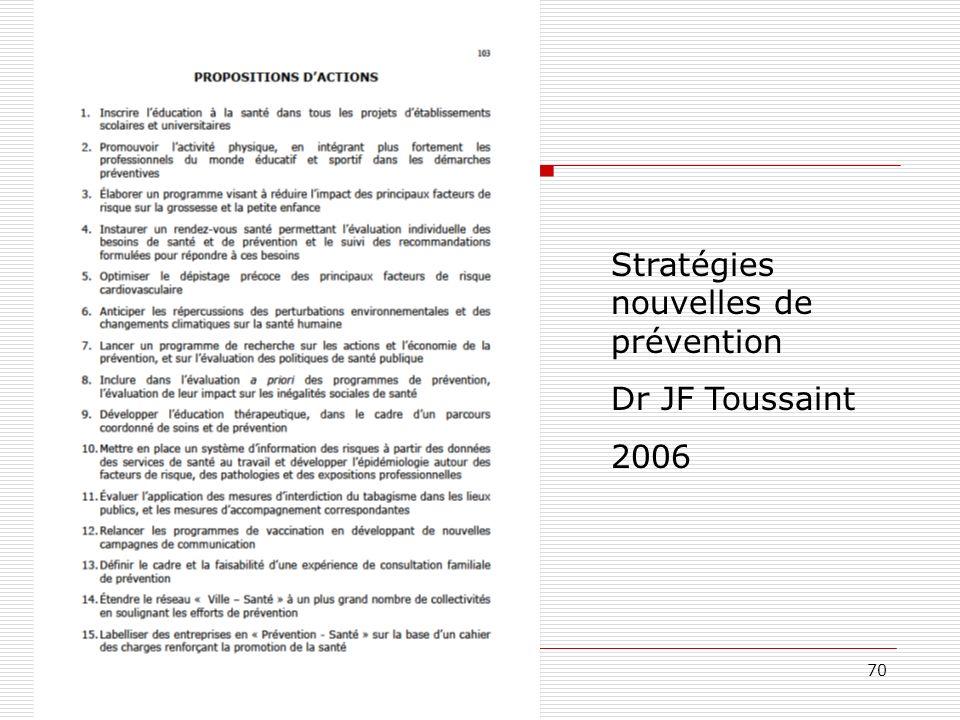 70 Stratégies nouvelles de prévention Dr JF Toussaint 2006