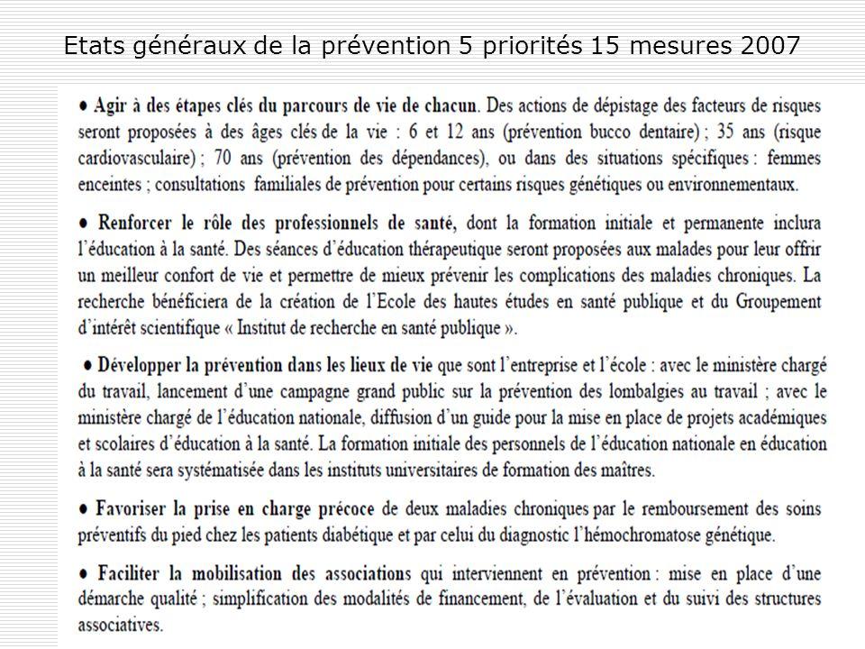 71 Etats généraux de la prévention 5 priorités 15 mesures 2007