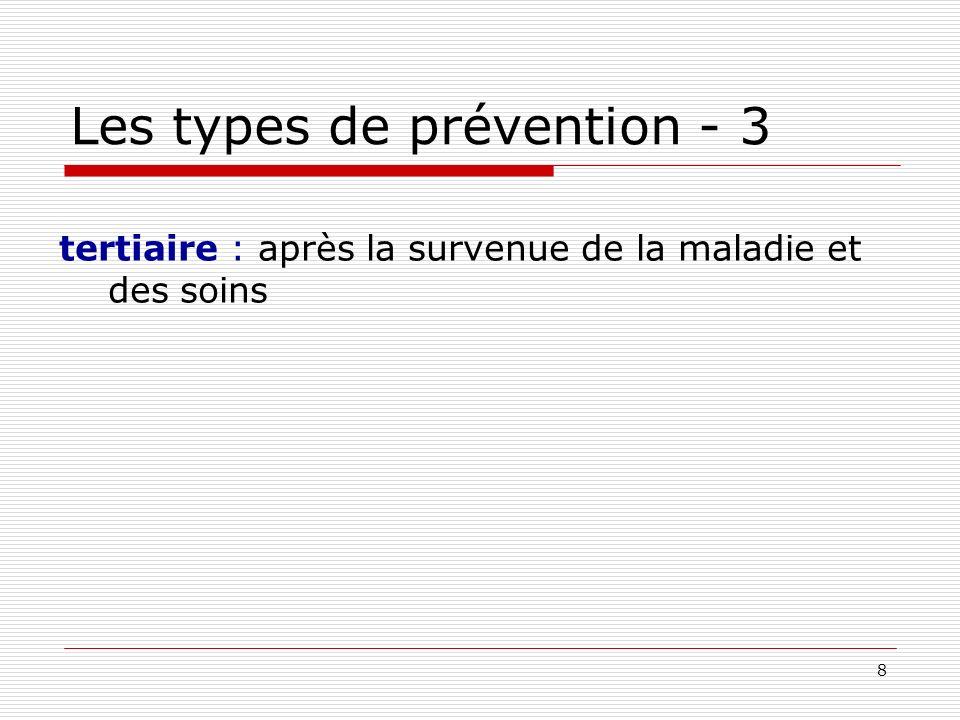 9 Les types de prévention - 3 tertiaire : après la survenue de la maladie et des soins finalité : évite l aggravation et limite les conséquences qualité du traitement des maladies, éducation du patient, qualité de vie, réinsertion