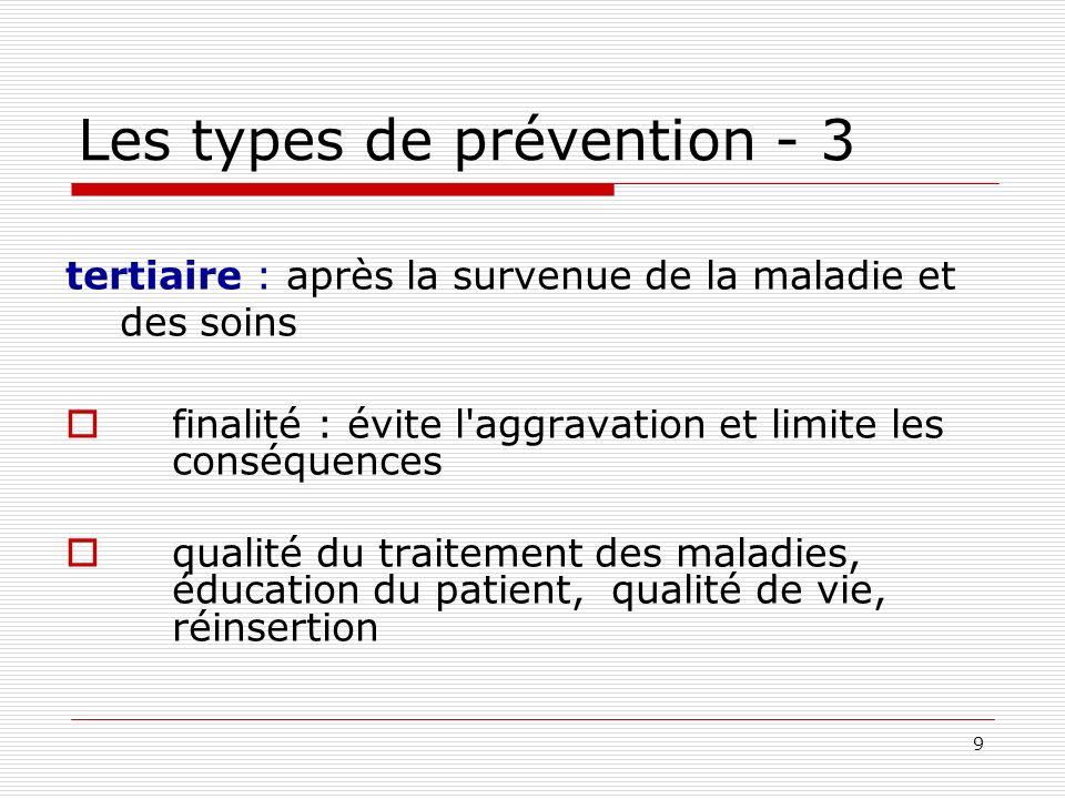 9 Les types de prévention - 3 tertiaire : après la survenue de la maladie et des soins finalité : évite l'aggravation et limite les conséquences quali