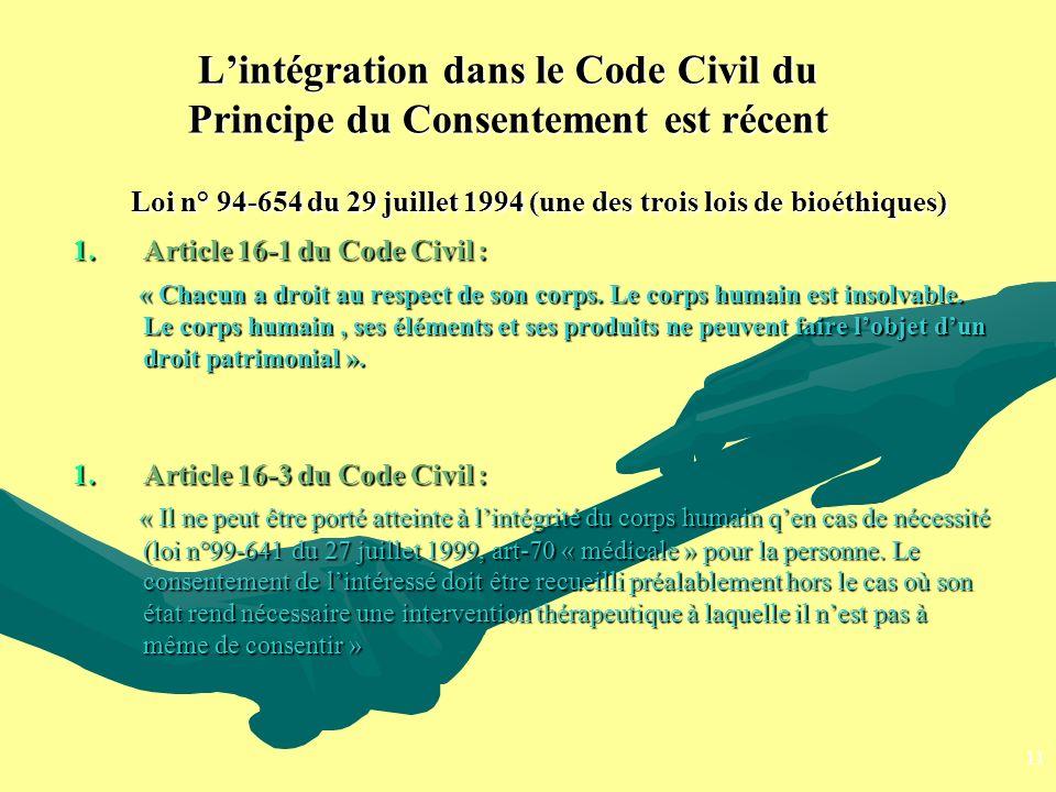 Lintégration dans le Code Civil du Principe du Consentement est récent Loi n° 94-654 du 29 juillet 1994 (une des trois lois de bioéthiques) Loi n° 94-