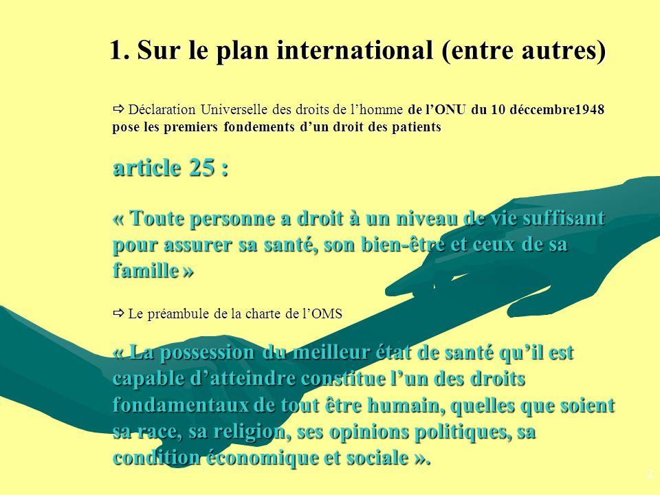 1. Sur le plan international (entre autres) Déclaration Universelle des droits de lhomme de lONU du 10 déccembre1948 pose les premiers fondements dun
