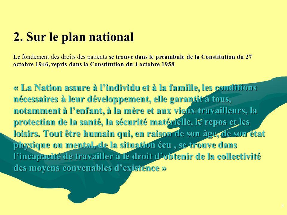 2. Sur le plan national Le fondement des droits des patients se trouve dans le préambule de la Constitution du 27 octobre 1946, repris dans la Constit