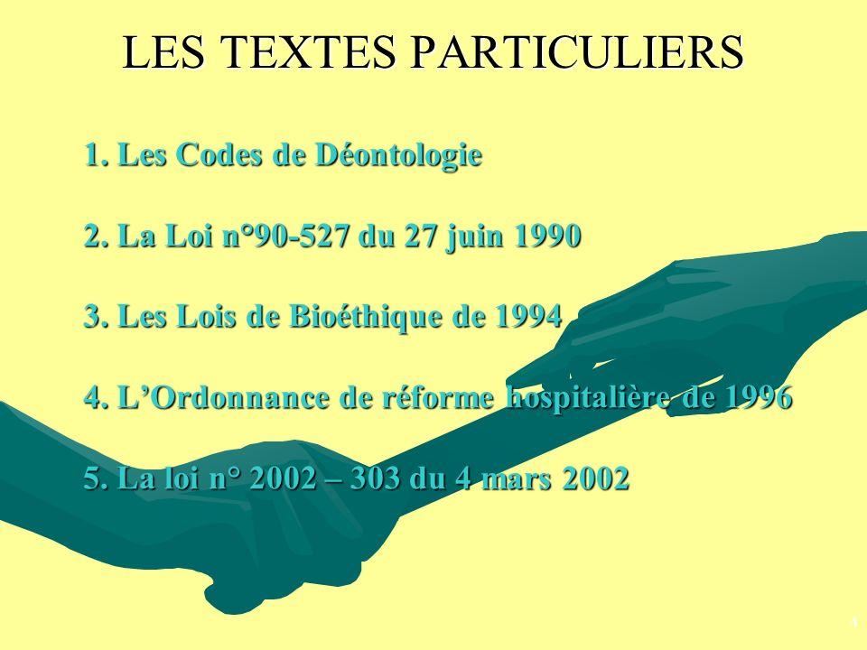 LES TEXTES PARTICULIERS 1. Les Codes de Déontologie 2. La Loi n°90-527 du 27 juin 1990 3. Les Lois de Bioéthique de 1994 4. LOrdonnance de réforme hos
