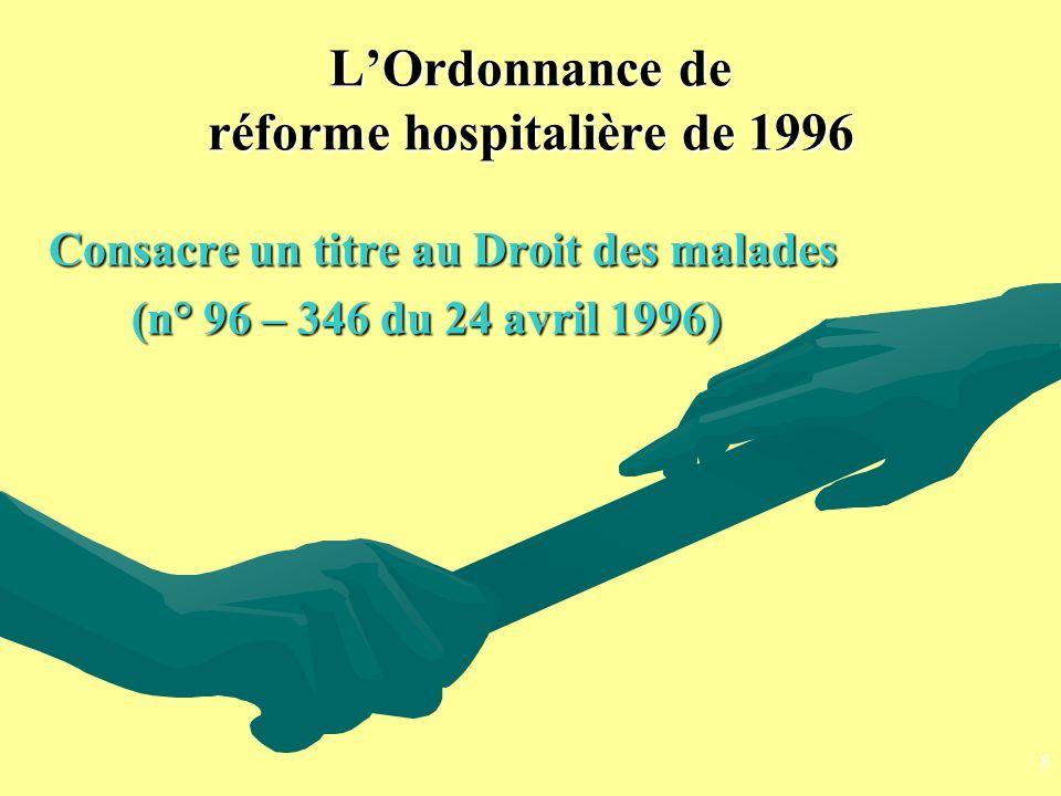 LOrdonnance de réforme hospitalière de 1996 Consacre un titre au Droit des malades (n° 96 – 346 du 24 avril 1996) (n° 96 – 346 du 24 avril 1996) 8