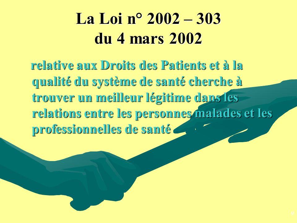 La Loi n° 2002 – 303 du 4 mars 2002 relative aux Droits des Patients et à la qualité du système de santé cherche à trouver un meilleur légitime dans l