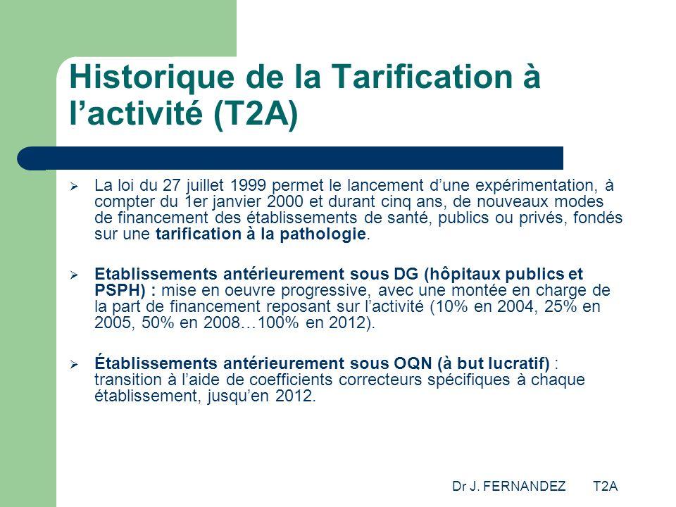 Dr J. FERNANDEZ T2A Historique de la Tarification à lactivité (T2A) La loi du 27 juillet 1999 permet le lancement dune expérimentation, à compter du 1