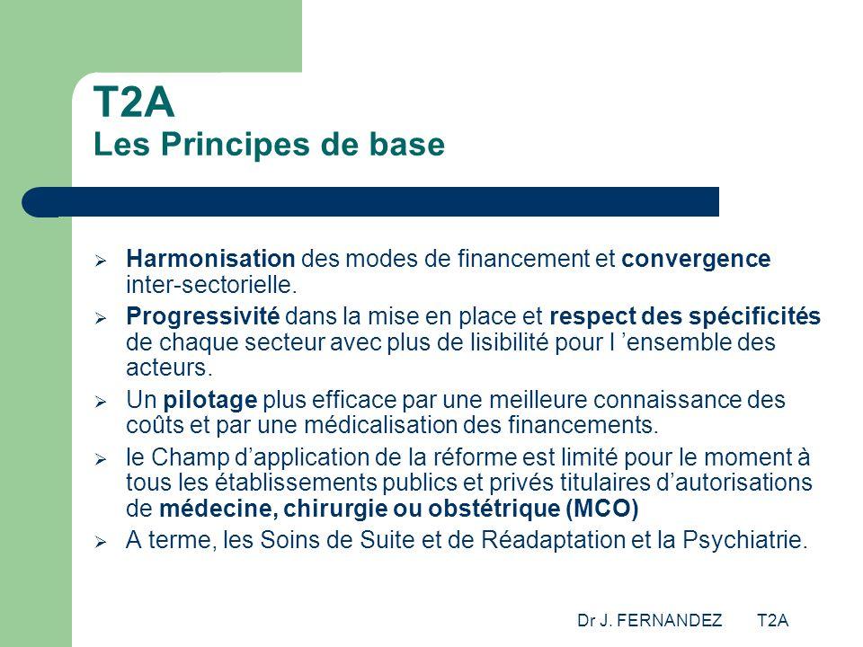 Dr J. FERNANDEZ T2A T2A Les Principes de base Harmonisation des modes de financement et convergence inter-sectorielle. Progressivité dans la mise en p