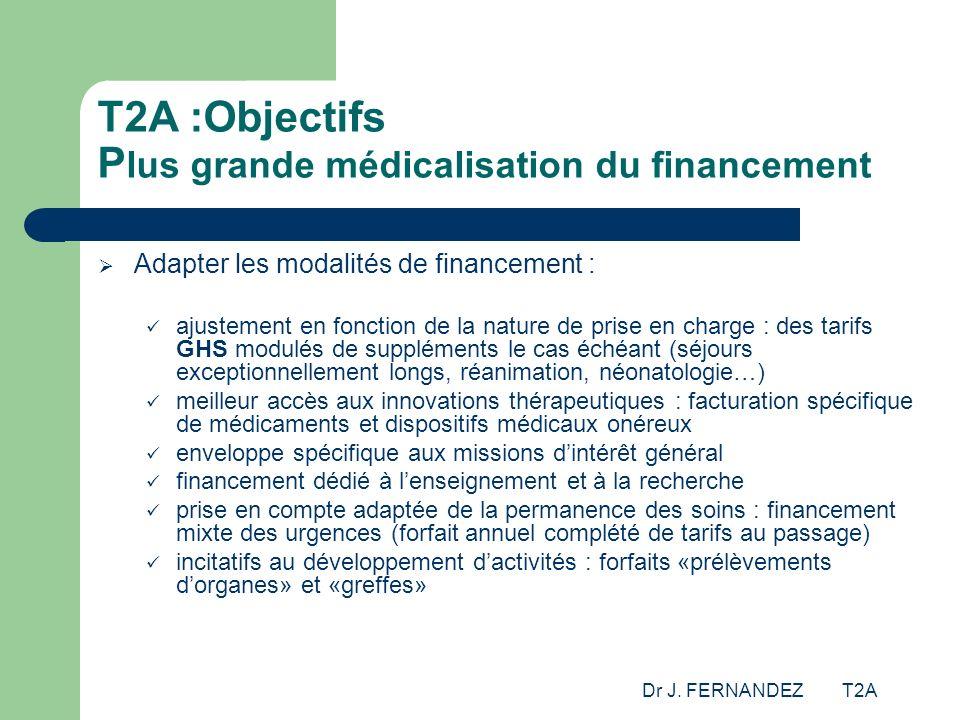 Dr J. FERNANDEZ T2A T2A :Objectifs P lus grande médicalisation du financement Adapter les modalités de financement : ajustement en fonction de la natu