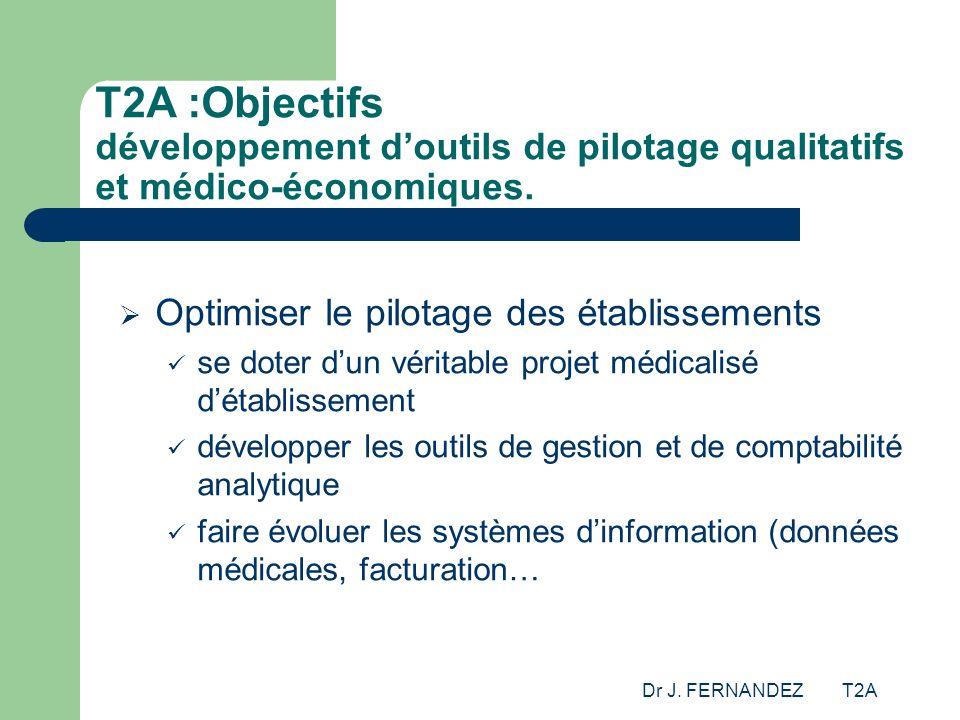 Dr J. FERNANDEZ T2A T2A :Objectifs développement doutils de pilotage qualitatifs et médico-économiques. Optimiser le pilotage des établissements se do