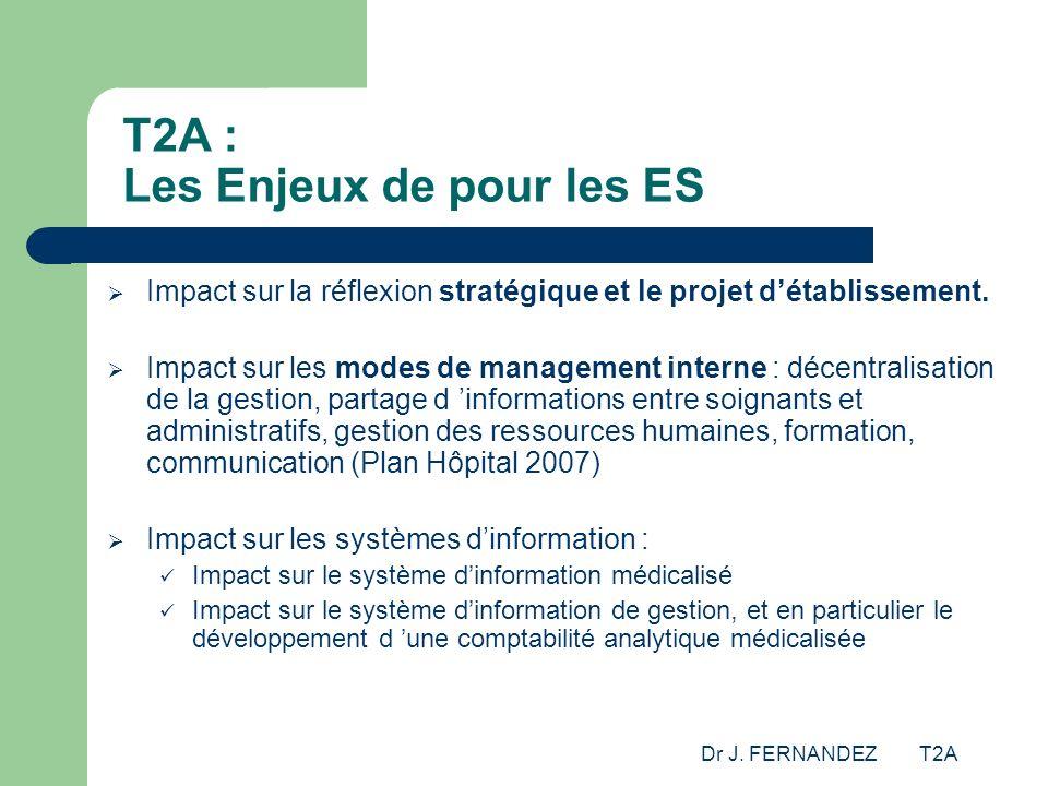 Dr J. FERNANDEZ T2A T2A : Les Enjeux de pour les ES Impact sur la réflexion stratégique et le projet détablissement. Impact sur les modes de managemen