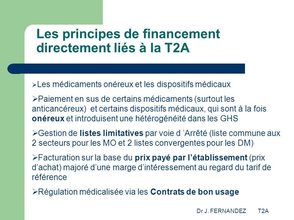Dr J. FERNANDEZ T2A Les principes de financement directement liés à la T2A Les médicaments onéreux et les dispositifs médicaux Paiement en sus de cert