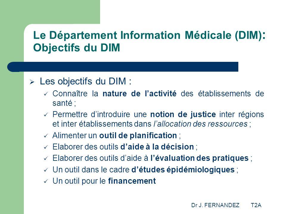 Dr J. FERNANDEZ T2A Le Département Information Médicale (DIM) : Objectifs du DIM Les objectifs du DIM : Connaître la nature de lactivité des établisse