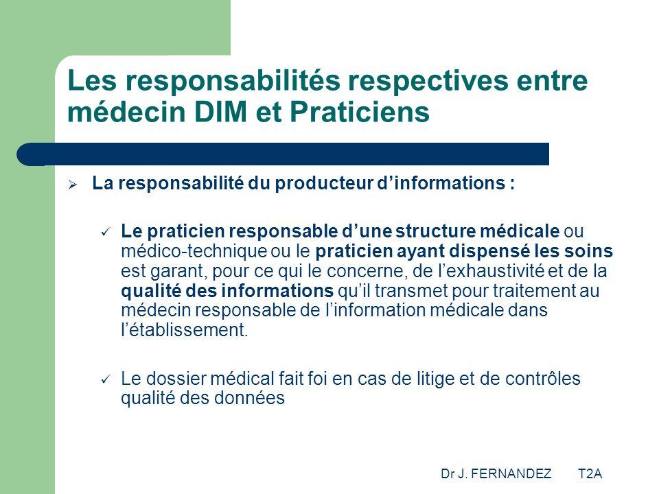 Dr J. FERNANDEZ T2A Les responsabilités respectives entre médecin DIM et Praticiens La responsabilité du producteur dinformations : Le praticien respo