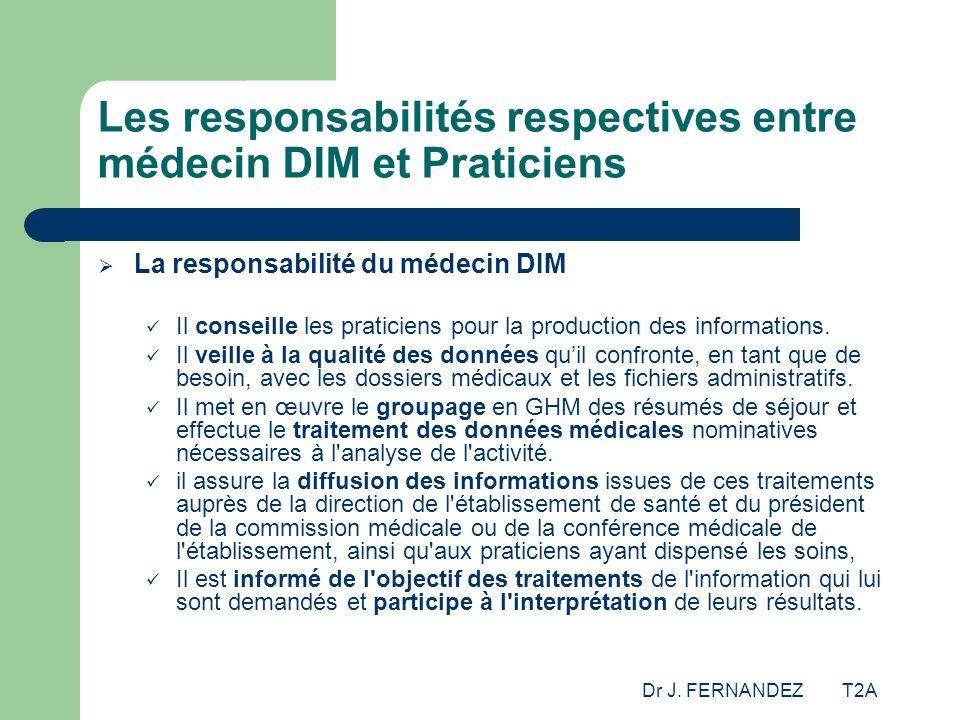 Dr J. FERNANDEZ T2A Les responsabilités respectives entre médecin DIM et Praticiens La responsabilité du médecin DIM Il conseille les praticiens pour