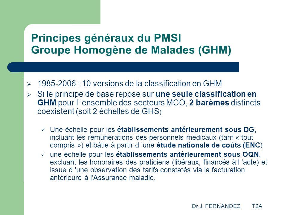 Dr J. FERNANDEZ T2A Principes généraux du PMSI Groupe Homogène de Malades (GHM) 1985-2006 : 10 versions de la classification en GHM Si le principe de