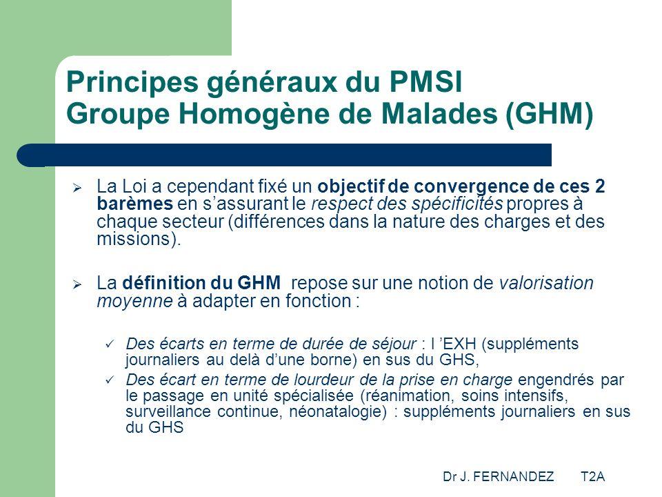 Dr J. FERNANDEZ T2A Principes généraux du PMSI Groupe Homogène de Malades (GHM) La Loi a cependant fixé un objectif de convergence de ces 2 barèmes en