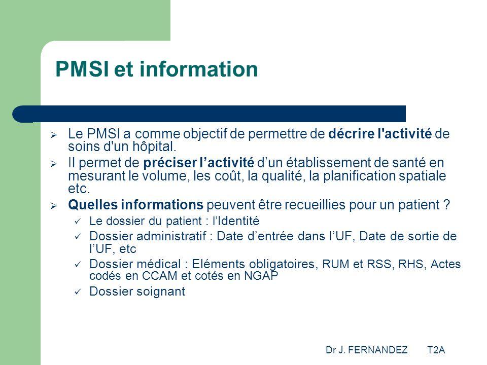 Dr J. FERNANDEZ T2A PMSI et information Le PMSI a comme objectif de permettre de décrire l'activité de soins d'un hôpital. Il permet de préciser lacti