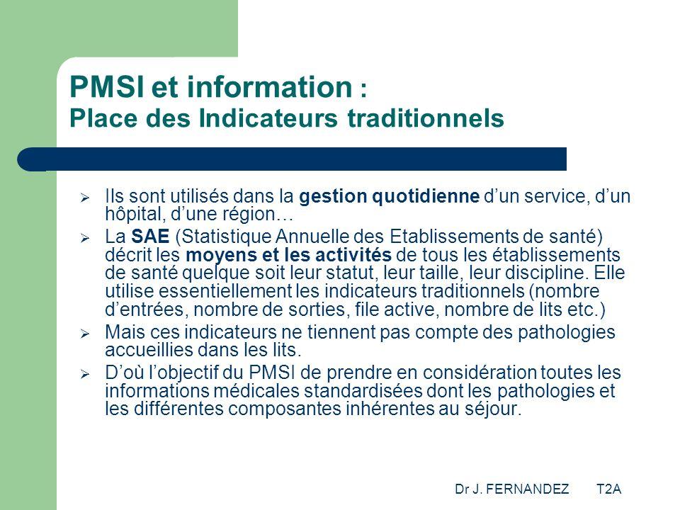 Dr J. FERNANDEZ T2A PMSI et information : Place des Indicateurs traditionnels Ils sont utilisés dans la gestion quotidienne dun service, dun hôpital,
