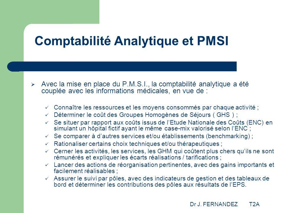 Dr J. FERNANDEZ T2A Comptabilité Analytique et PMSI Avec la mise en place du P.M.S.I., la comptabilité analytique a été couplée avec les informations
