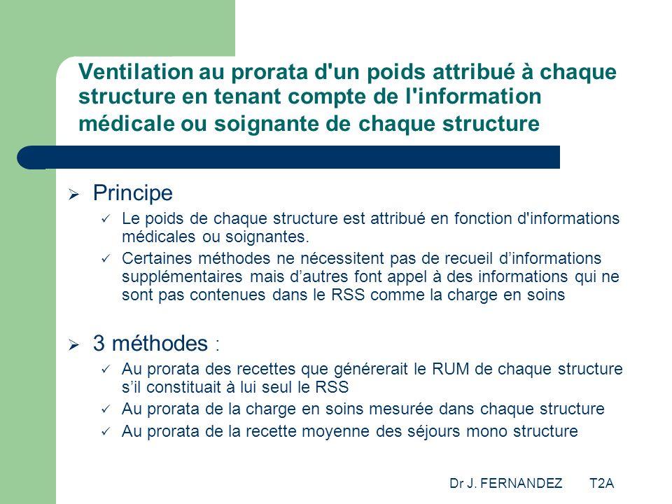 Dr J. FERNANDEZ T2A Ventilation au prorata d'un poids attribué à chaque structure en tenant compte de l'information médicale ou soignante de chaque st