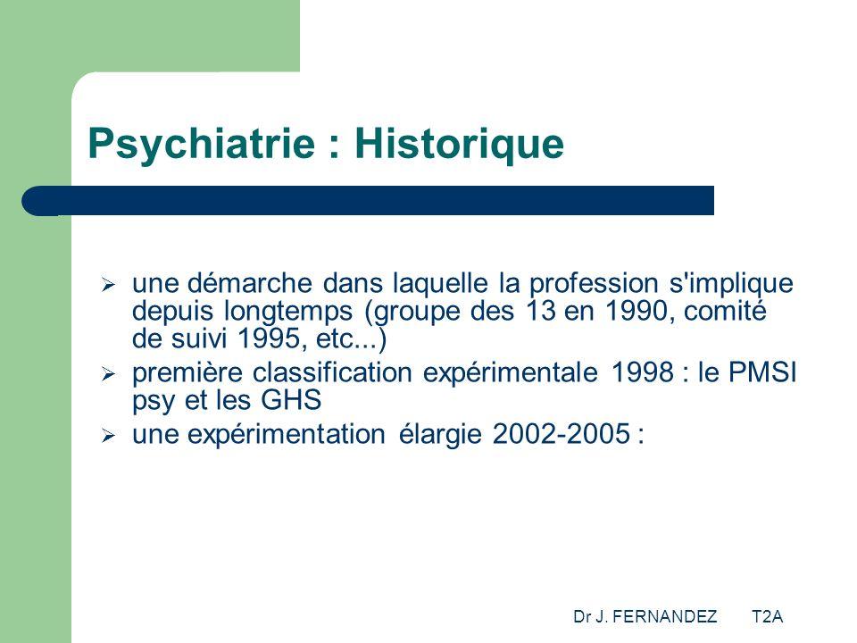 Dr J. FERNANDEZ T2A Psychiatrie : Historique une démarche dans laquelle la profession s'implique depuis longtemps (groupe des 13 en 1990, comité de su