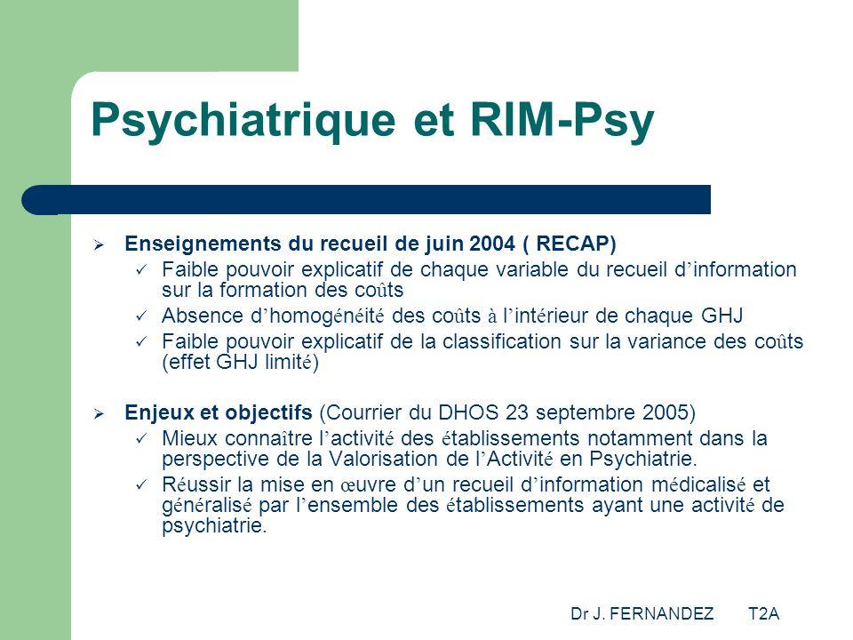 Dr J. FERNANDEZ T2A Psychiatrique et RIM-Psy Enseignements du recueil de juin 2004 ( RECAP) Faible pouvoir explicatif de chaque variable du recueil d