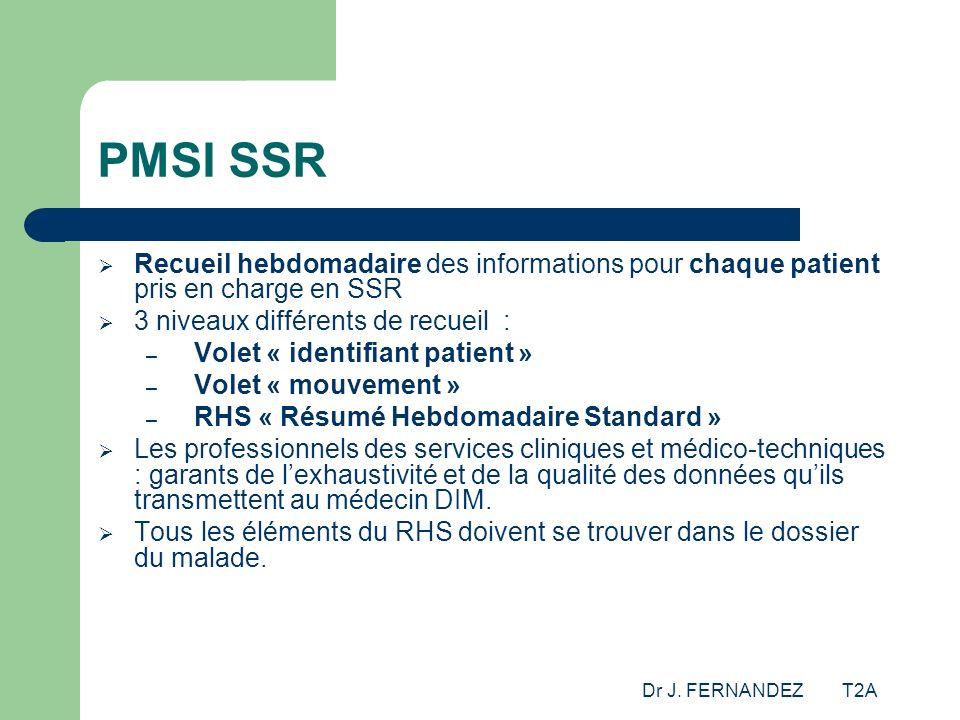 Dr J. FERNANDEZ T2A PMSI SSR Recueil hebdomadaire des informations pour chaque patient pris en charge en SSR 3 niveaux différents de recueil : – Volet