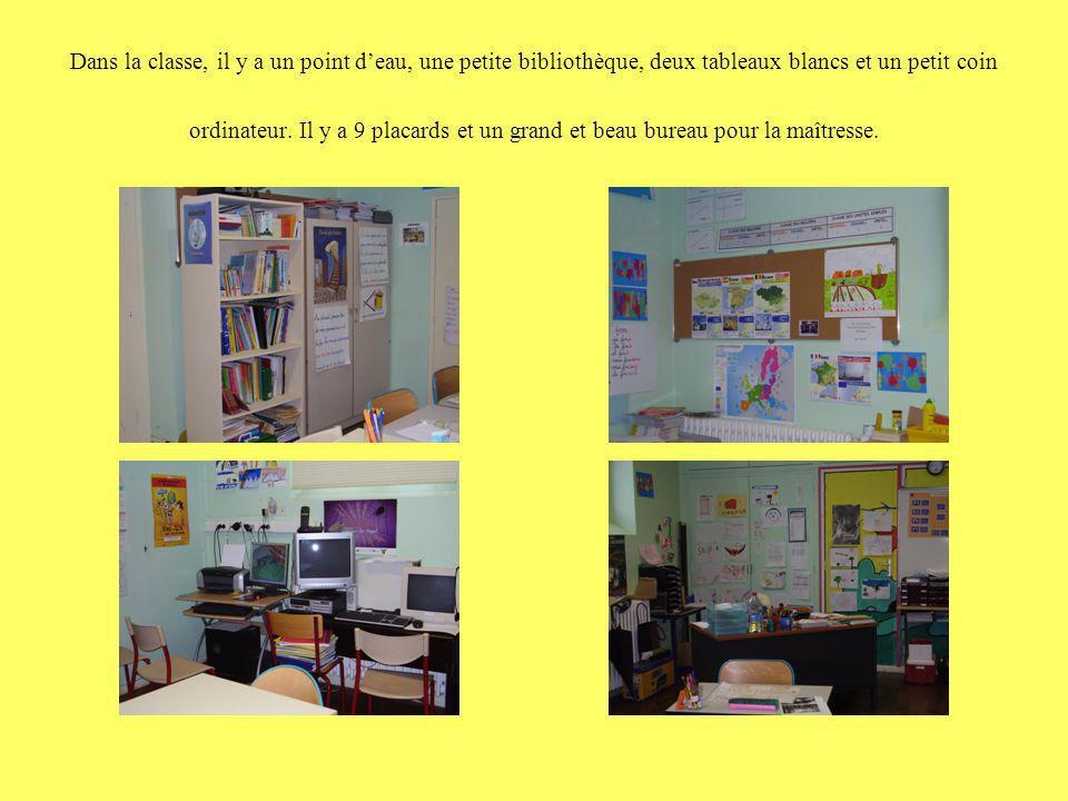 Dans la classe, il y a un point deau, une petite bibliothèque, deux tableaux blancs et un petit coin ordinateur. Il y a 9 placards et un grand et beau