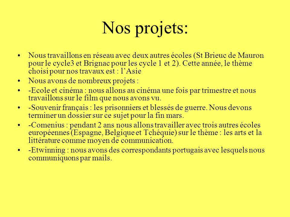 Nos projets: Nous travaillons en réseau avec deux autres écoles (St Brieuc de Mauron pour le cycle3 et Brignac pour les cycle 1 et 2). Cette année, le