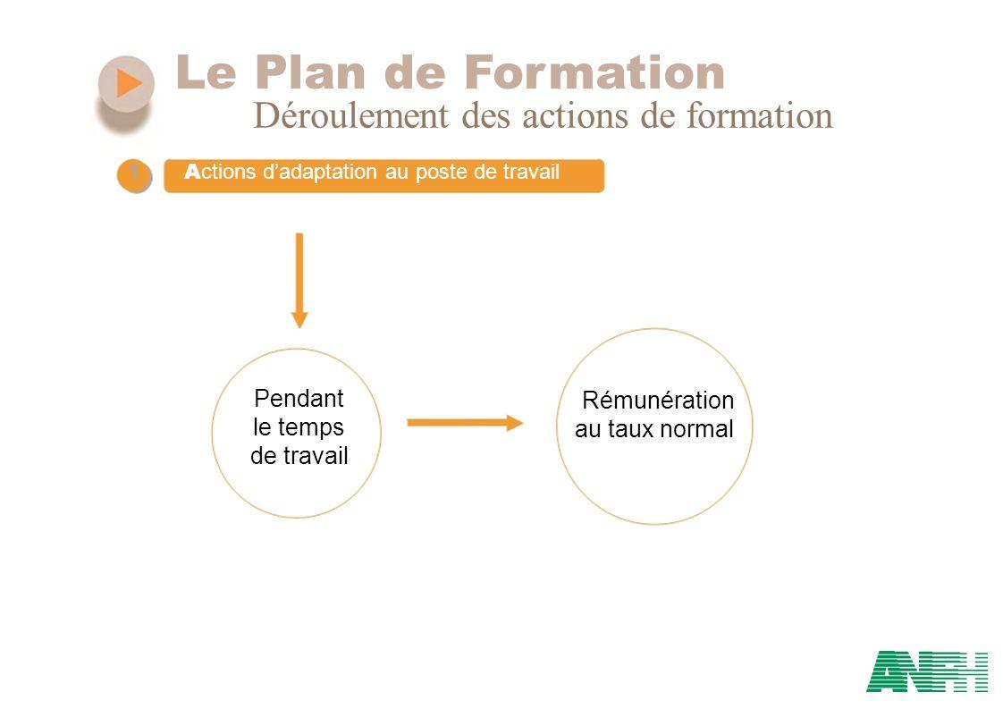 Le Plan de Formation Déroulement des actions de formation 1 A ctions dadaptation au poste de travail Pendant Rémunération le temps au taux normal de t