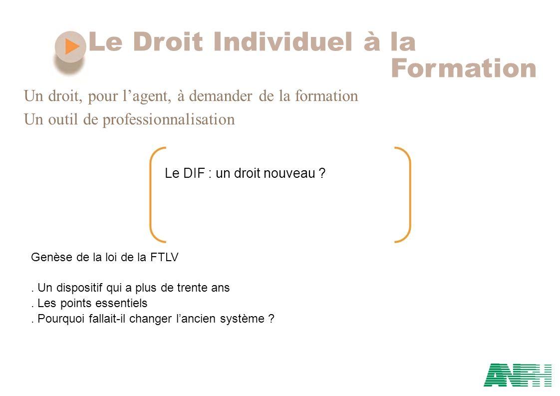 Le Droit Individuel à la Formation Un droit, pour lagent, à demander de la formation Un outil de professionnalisation Le DIF : un droit nouveau ? Genè