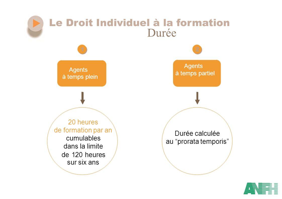 Le Droit Individuel à la formation Durée 12 Agents à temps partiel à temps plein 20 heures de formation par an Durée calculée cumulables au prorata te