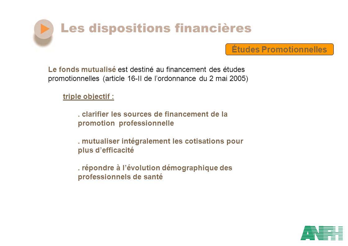 Les dispositions financières Études Promotionnelles Le fonds mutualisé est destiné au financement des études promotionnelles (article 16-II de lordonn