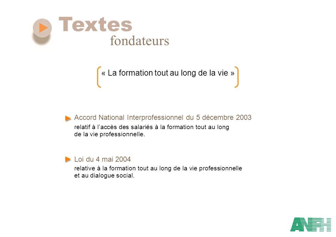 Textes fondateurs « La formation tout au long de la vie » Accord National Interprofessionnel du 5 décembre 2003 relatif à laccès des salariés à la for