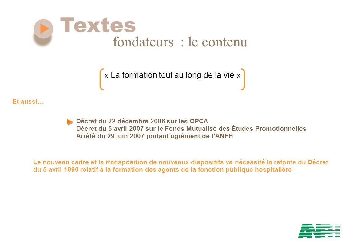 Textes fondateurs : le contenu « La formation tout au long de la vie » Décret du 22 décembre 2006 sur les OPCA Décret du 5 avril 2007 sur le Fonds Mut