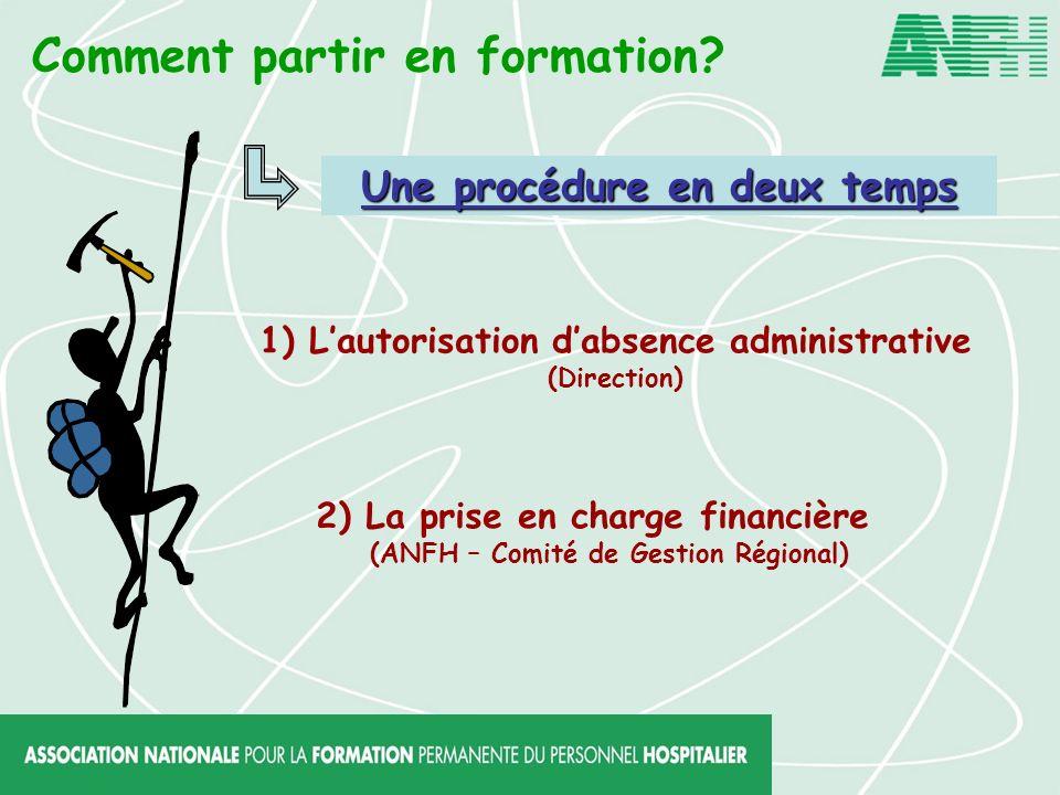Comment partir en formation? 1) Lautorisation dabsence administrative (Direction) 2) La prise en charge financière (ANFH – Comité de Gestion Régional)
