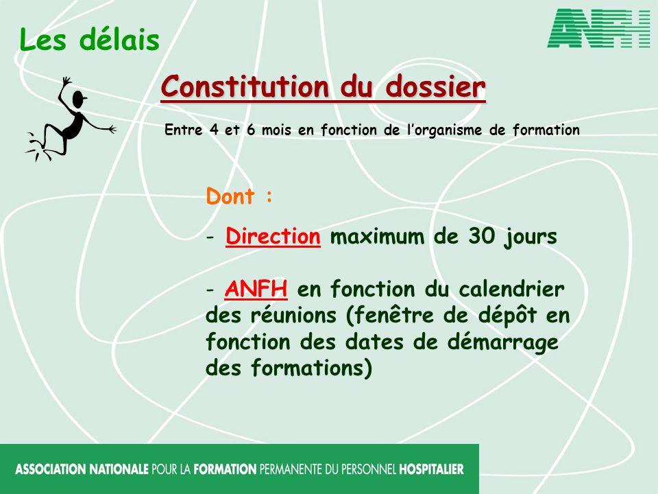 Les délais Constitution du dossier Entre 4 et 6 mois en fonction de lorganisme de formation Dont : - Direction maximum de 30 jours - ANFH en fonction