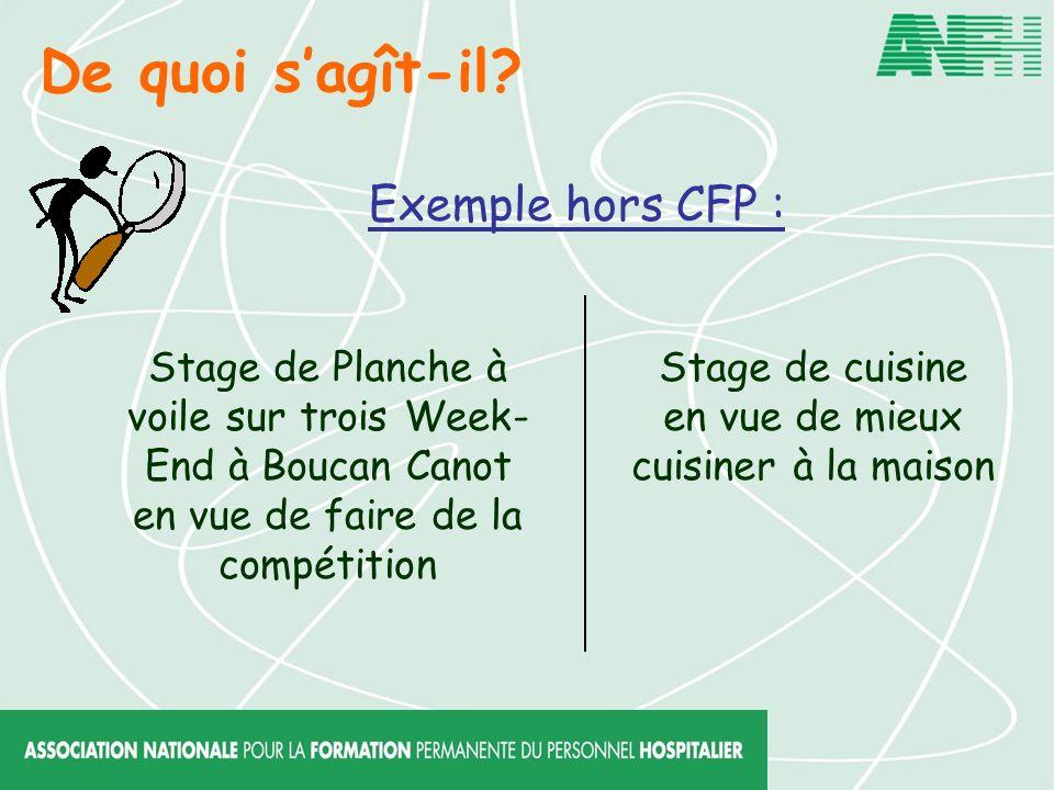 De quoi sagît-il? Exemple hors CFP : Stage de Planche à voile sur trois Week- End à Boucan Canot en vue de faire de la compétition Stage de cuisine en