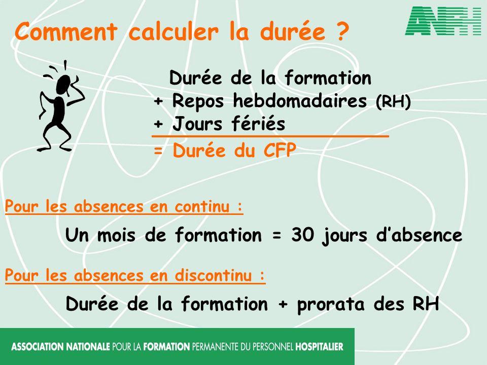 Comment calculer la durée ? Durée de la formation + Repos hebdomadaires (RH) + Jours fériés = Durée du CFP Pour les absences en continu : Pour les abs